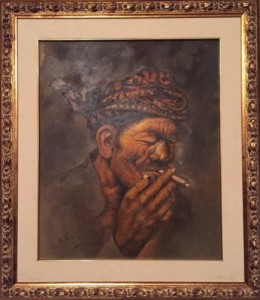 Agus Purjono – An old man smoked a cigarette