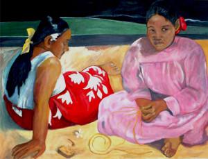 Oria – Due donne Tahitiane sulla spiaggia