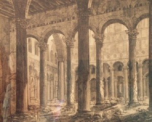 Luigi Rossini – Veduta della rovina di San Paolo fuori le mura