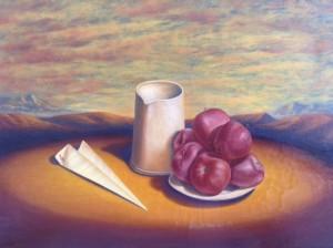 Luigi Boccardi – Composizione: piatto di mele, brocca e aeroplanino in paesaggio