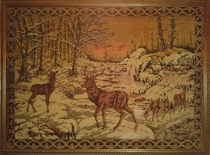 Arazzo cervi d'inverno
