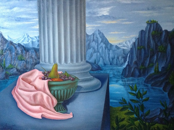 """Luigi Boccardi – """"Offerta al tempio"""" – I viaggi della mente e dell'anima (Cratere di frutta in paesaggio contemplativo e riflessivo)"""