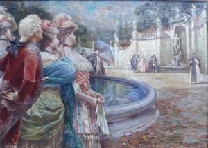 Raffaele Armenise – Dame e cavalieri in piazza con fontana