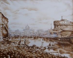Meloni Paola –  Pescatori sulla riva del Tevere nel 1870