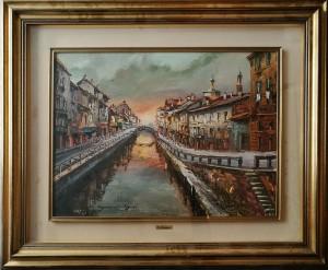 Eugenio Mantegani – Via Visconti di Modrone da sotto il ponte delle sirenette