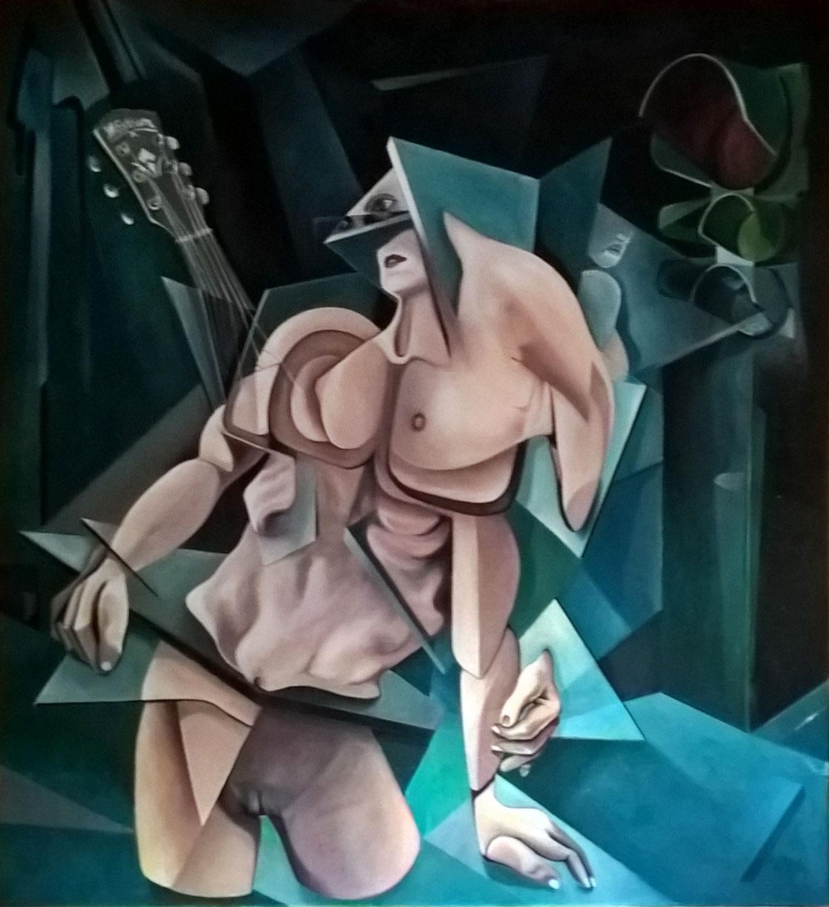 Evaldo Amatizi – Nudo con chitarra e semaforo
