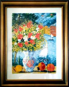 Michele Cascella – Vaso di fiori con mare