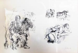 Carlo Malnati – Schizzi su sfondo rosso