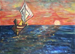 Giovanni Guglielmi – La vela al tramonto