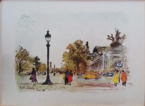 Michele Cascella – Veduta parigina , piazza