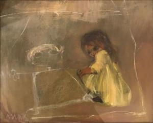 Edolo Masci – Bambina con vestito giallo