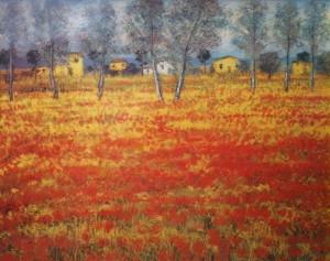 Michele Cascella – Campo di papaveri