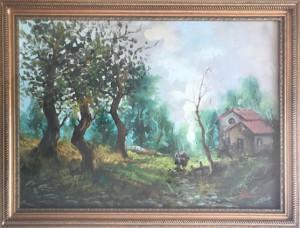 F. M. Rulini ? – Paesaggio di campagna con due donne