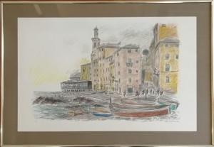 Michele Cascella – Paesaggio con barche
