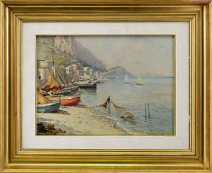 Giuseppe Lamonica – Golfo di Napoli con pescatori