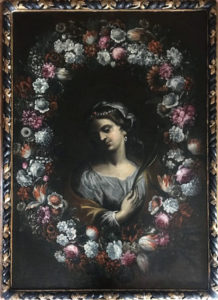 Attribuito a Stringa – Santa entro corona floreale