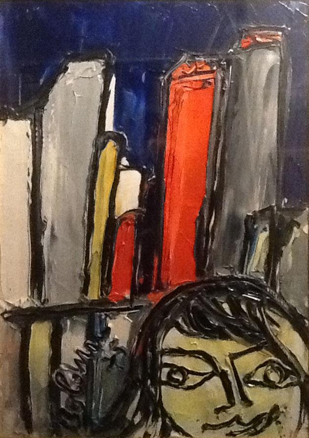 Gustavo Boldrini – Figura con veduta di grattacieli
