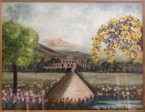 Marisa Polato – Veduta con fiori rosa