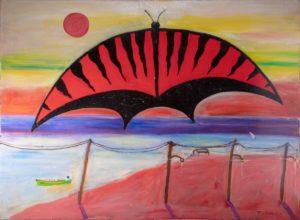 Ken Tielkemeier – L'alba sulla baia di New York con farfalla rossa