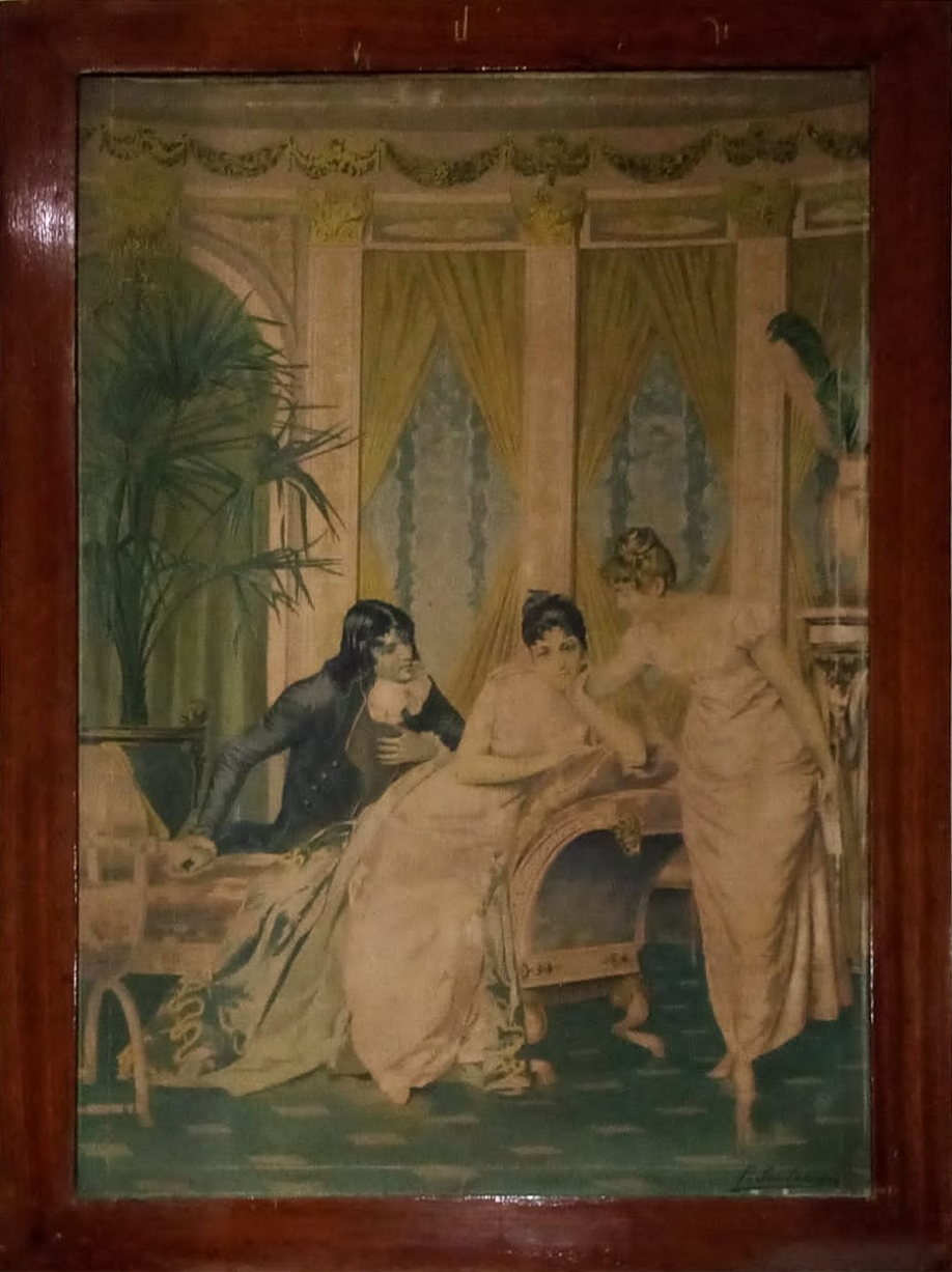 Attribuito Frédéric Soulacroix – Elegantly dressed figures in a French empire parlor setting