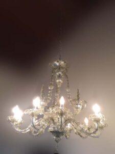 Lampadario a 9 luci in vetro di cristallo di Murano