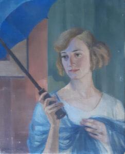 Anonimo – Donna bionda con peplo azzurro