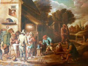 Anonimo di scuola fiamminga XVII-XVIII secolo – Giochi nell'aia