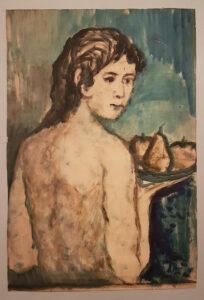 Achille Funi – Nudo con vassoio di frutta