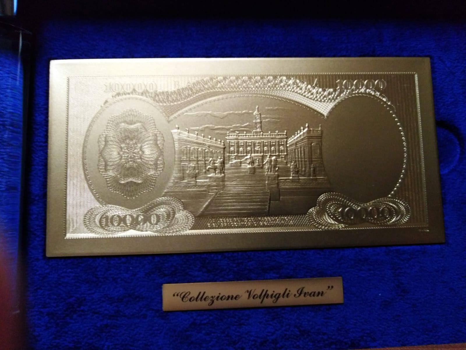 Banconota in oro con riproduzione Diecimila lire – IPZS