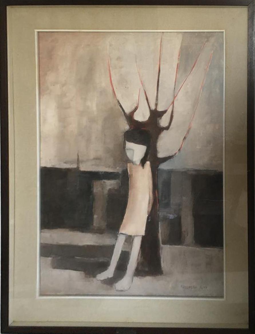 Prospero Riva – Donna appoggiata ad un albero